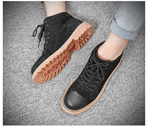 HL-PYL-Martin uomini stivali scarpe alte Tooling Stivali Stivali con bassa scarpe di cotone black