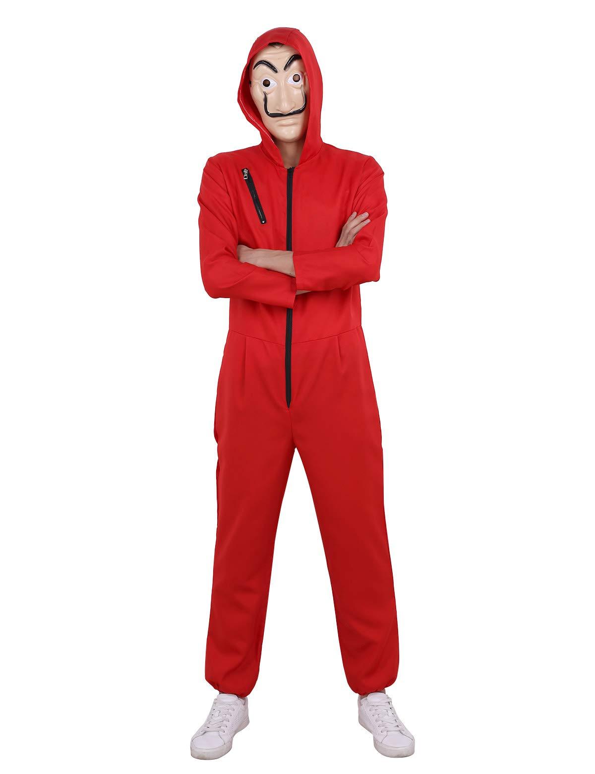 IEFIEL Tuta Costume da Rapinatore la Casa di Carta per Adulto Cosplay Uomo  Carnevale Halloween Festa Party Body Rosso con Maschera Cappuccio Donna  Unisex 0df741275cb