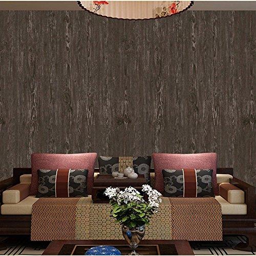 Hohe Qualität der Holz-Tapete Retro emulation Holz wallpaper dunklen Decken Wohnzimmer TV Hintergrundbild , 8503, 53*1000 (Dunkles Holz Wallpaper)