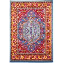 benuta Vintage Teppich im Used-Look Swing Blau 60x110 cm | Moderner Teppich für Schlafzimmer und Wohnzimmer