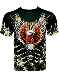 Rock Chang T-Shirt * Eagle & Skull * Tied-Dyed * Noir WO021