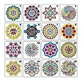 BeneU Disegno Pittura Stencil Scala Set di Modelli, Pittura Stencil di Fiori Grafica Stencil per Bambini Creazione 16 Pz Seconda Generazione Innovativa Mandala Pietra Quadro Colore Pittura