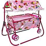 BabyGo Baby Cradle Cot Cum Stroller Eva Wheel (Pink)