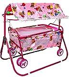 #4: BabyGo Baby Cradle Cot Cum Stroller Eva Wheel (Pink)
