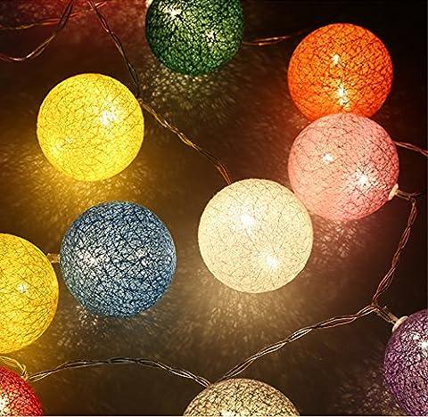 Finether LED Lampion Lichterkette 20er Partylichterkette Deko für Innen Balkon Party Hochzeit Feiertag batterie-betrieben Kugeln/Bälle Lampions 2.2m
