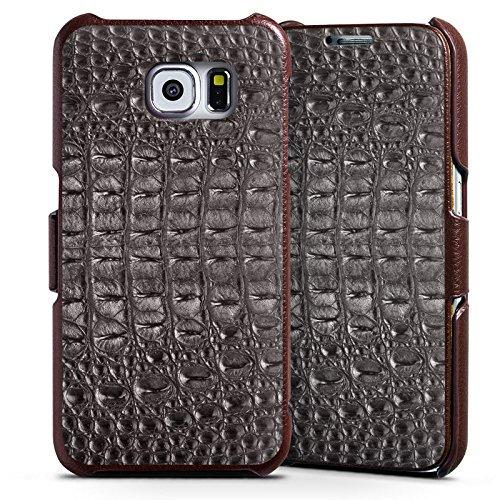 Samsung Galaxy S6 Lederhülle Handyhülle mit Klappe Klappfunktion Flip Case Krokodilhaut Look Schwarz Krokodil Muster (Croc-klappe)