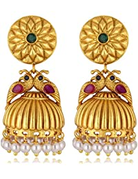 Alamod Gold-Toned Matt Finish Ruby With Pearl Peacock Shape Jhumkis Earrings FER_057