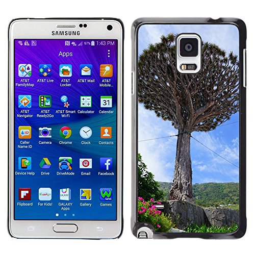Bild Hart Handy Schwarz Schutz Case Cover Schale Etui // M00169288 Kanarischen Drachenbaum Unterstützung // Samsung Galaxy Note 4 IV