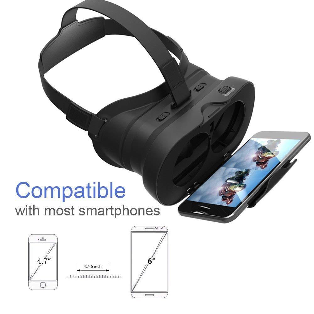 Casque de réalité virtuelle 3D VR – Kit piéton – Pour iPhone 6S 6Plus 5S, HTC One M, LG, Sony, tous les téléphones portables 4.7 – 6pouces – Pour films 3D, Compatible avec iOS Android