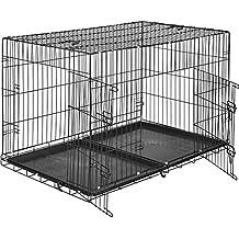 TecTake Jaula para perros-caja con rejillas   2 grandes puertas con cerrojos   Plegable