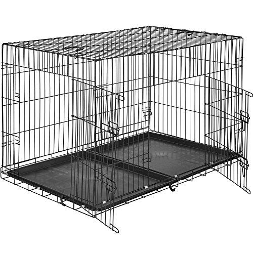 TecTake Hundekäfig Gitterbox Transportbox | 2 große Türen mit Riegeln | Zusammenklappbar - verschiedene Größen (122 x 76 x 81 cm | Nr. 402297)