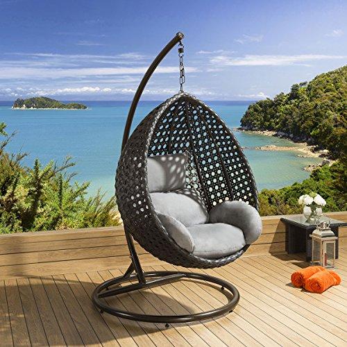 Luxury Outdoor Garden Hanging Chair Black Rattan Grey Cushion 17