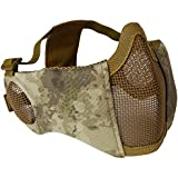 "Detech 6"" Foldable Ear Protection Airsoft Mesh Mask Adjustable Military Tactical Half Face Mesh Mask For Cs Paintball Hunting"