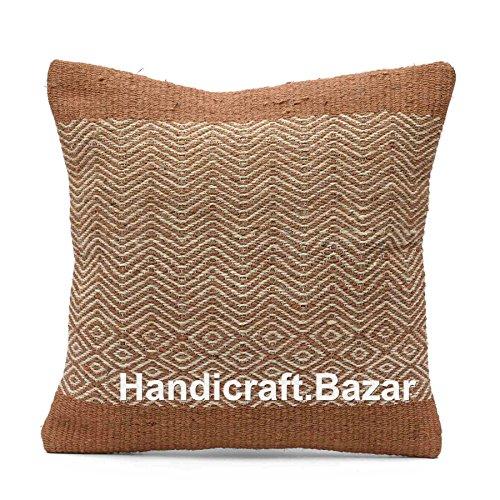 Handicraft Bazar Almohada de Yute Tejida a Mano, Estilo Vintage, étnico, para Exteriores, de Yute, Indio, Bohemio, Hecha a Mano, cojín de Kilim