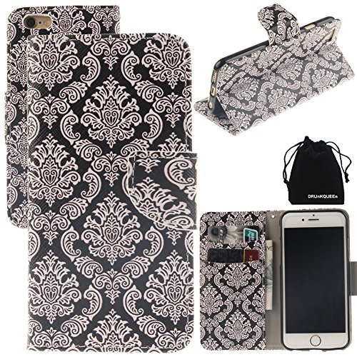 iPhone 6 Plus & iPhone 6S Plus Case, DRUnKQUEEn Leather Wallet Case Back Cell Phone Shell Skin Magnetic Flap Cover with Credit Card Holder for iPhone 6PLUS (5.5