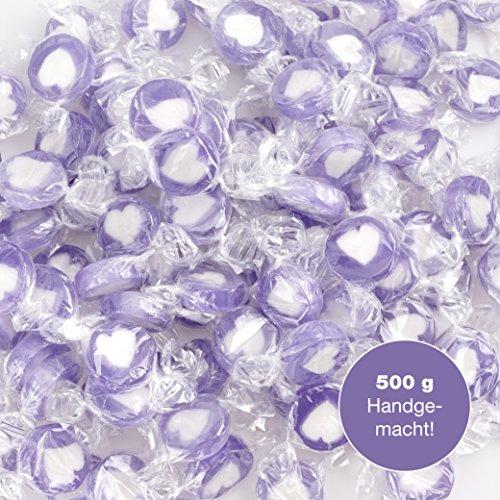 Rocks Herzbonbons Süssigkeit flieder lila weiß als süße Tischdeko zu Hochzeit Taufe Kommunion oder Valentinstag (500g)