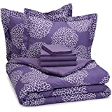 AmazonBasics 7-Piece Bedsheet Set - Full/Queen, Purple Floral (Includes 1 bedsheet, 1 comforter, 4 pillowcases, 1 fitted sheet)