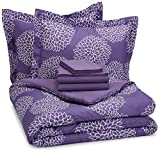 AmazonBasics 7-Piece Bedsheet Set - Full/Queen, Purple Floral