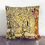 """Big Box Art """"El árbol de la vida de Gustav Klimt"""" piedra con cojín manta almohada, multicolor, 43x 43cm)"""