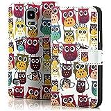 Saxonia. Moderne Schutzhülle für Samsung Galaxy S5 SM-G900F G900 i9600 schicke Tasche mit tollem Design und bester Schutz. Vögel (Owls)
