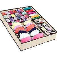 Jorlyen Lot de 4 boîtes de rangement pliables en tissu pour vêtements de maison, sous-vêtements, soutiens-gorge…