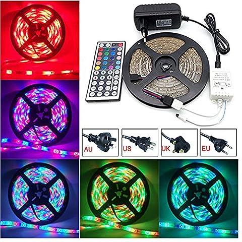 Ei-Home 1-Set 16.4ft / 5m RGB wasserdichtes flexibles LED-Streifen-Licht, 3528 300Leds DC 12V helles Streifen-Seil für Haus / Garten-Weihnachtsbeleuchtung-Versorgungsmaterial mit 44Key Fernsteuerungs-, IR-Steuerungs-Kasten und Energie