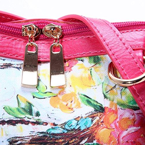 Eshow Damen Mädchen Canvas Freizeit Reise Sport Outdoor Uni Rucksack Tasche Rosa1