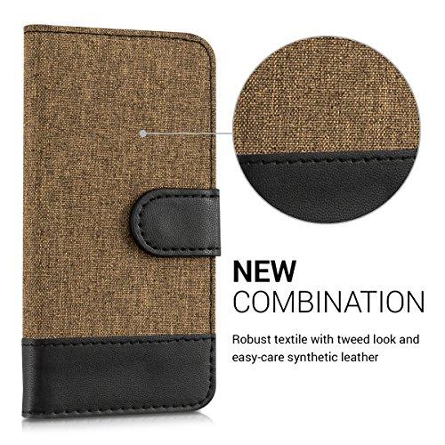 kwmobile Wallet Case Hülle für Apple iPhone SE / 5 / 5S - Cover Flip Tasche mit Kartenfach in Schwarz .Kupfer Schwarz