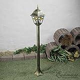 Licht-Erlebnisse Rustikale Außen Wegleuchte mit Glas im Tiffany Stil antik gold 1,03m hoch E27 230V Stehleuchte Außenleuchte Außenlampe Weg Garten Wegeleuchte Lampen