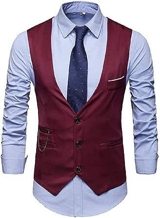 GRMO Men V-Neck Cargo Single-Breasted Design Casual Waistcoat Business Vest