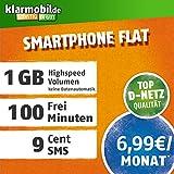 Klarmobil Smartphone Flat M mit 1 GB Internet Flat max. 21,6 MBit/s, 100 Frei-Minuten in alle deutschen Netze, EU-Roaming, 24 Monate Laufzeit, monatlich nur 6,99 EUR, Triple-Sim-Karten