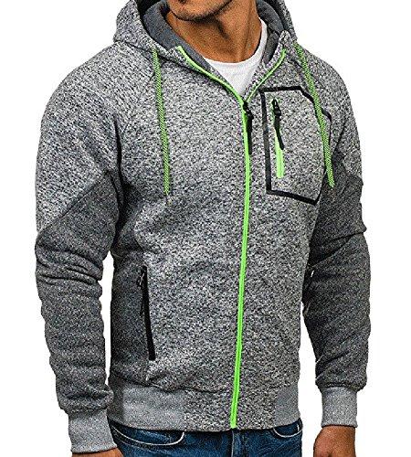 Minetom Uomo Felpa Con Cappuccio Hoodies Hooded Sweatshirt Manica Lunga Cappotto Giacca Felpe Tops Outwear Inverno Colori A Contrasto B Grigio Chiaro