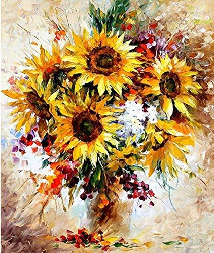 YEESAM ART Neuheiten Malen nach Zahlen Erwachsene Kinder, Herrlich Sonnenblumen Blumen & Vase 40x50 cm Leinen Segeltuch, DIY ölgemälde Weihnachten Geschenke