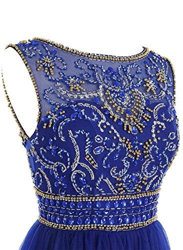 Bbonlinedress Robe de cérémonie Robe de bal forme empire emperlée en tulle longueur ras du sol Bleu