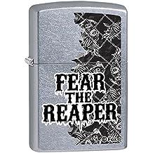 """Zippo """"SOA Fear The Reaper"""" calle cromo encendedor de color calavera"""
