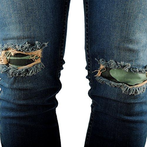 FiveSix Herren Used-Look Slim-Fit Denim Destroyed-Look Bikerjeans Löcher Skinny Jeans Zerrissen Hose mit Stretch Blau