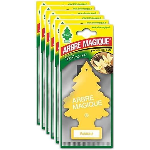 Arbre Magique 105364 Deodorante Auto, Fragranza Vaniglia, Profumazione Prolungata per 7 Settimane, Confezione da 6 Pezzi