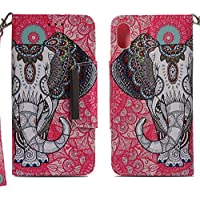 Handyhülle iPhone Xs Max,HUDDU Elefant Muster Rot Schutzhülle iPhone Xs Max Hülle Flip Leder Tasche Slim Bookstyle... preisvergleich bei billige-tabletten.eu