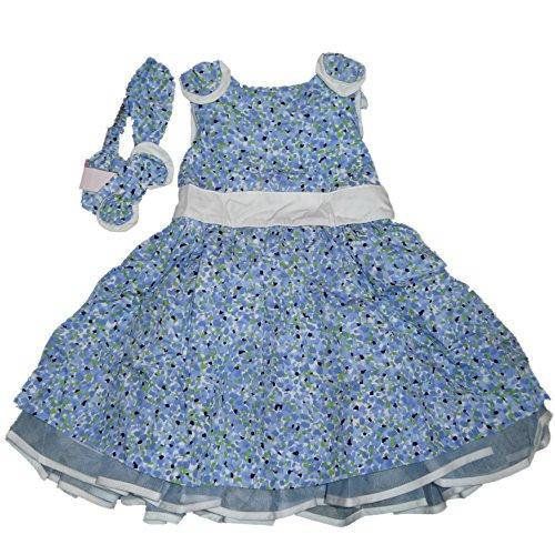 Maggie & Zoe Kinder Mädchen Peticoat Sommer Kleid Blau Weiß geblümt mit Passendem Haarband und Unterhose (92) (Für Mädchen Kleider Zoe)