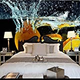 Lyqyzw Peintures Murales Personnalisées Fruits Orange Dans Le Débordement De L'Eau De Pulvérisation Hd Photo Fond D'Écran Salon Tv Canapé 3D-310X210Cm