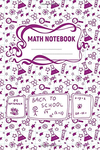 Math Notebook: A 6x9 Inch Matte Softcover Paperback Notebook Journal With 120 Blank Grid Quad Pages - Graph Paper (4x4) -Test Tubes, Beakers, Magnifying Glass