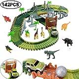 Flybiz 142 Dinosarier Spielzeug Rennenbahn Auto Rennstrecken-Sets, 6 Dinosarier, 1 Militäre Wagen, 5 Bäume, 2 Pisten, 1 Ball, 1 Doppeltür und 1 Hängebrücke.Perfektes Geschenk für Junge und Mädchen