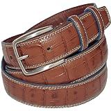 ITALOITALY Cintura in Vera Pelle, Effetto Coccodrillo, ca. 3,5 cm, Doppio Passante, Prodotto Artigianale, Made in Italy, Unis