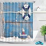 Vacanza estiva doccia tenda barca giocattolo con conchiglie su un fondo in legno blu forsailing poliestere tessuto decorato tende da bagno impermeabile antimuffa arredamento bagno accessori per la casa con 12 ganci per tende 180x200cm