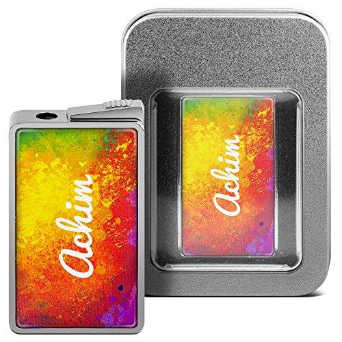 Feuerzeug mit Namen Achim - personalisiertes Gasfeuerzeug mit Design Color Paint - inkl. Metall-Geschenk-Box 13
