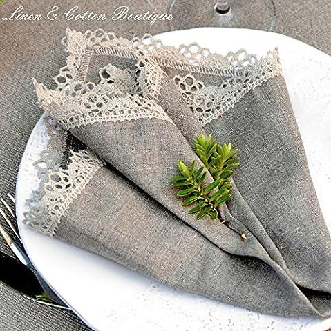 Luxury Linen & Cotton Crochet Edged Natural Napkins - 15.6'' x 15.6'' (39cm x 39cm), 100% Linen (4) by Linen &