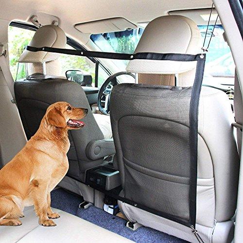 Haustier Hund Auto Sicherheit Isolierung, Halten Haustiere aus Dem Vordersitz, Mesh Net Barrier Rücksitz Für Fahrzeug (115X62 cm),Black,2PCS -
