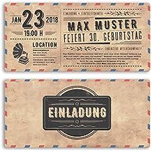 Einladungskarten Geburtstag (20 Stück) Vintage Ticket Retro Alt Look  Ausgefallen Originell Party Feier Geburtstagseinladungen