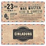 (50 x) Einladungskarten Geburtstag Vintage Ticket Retro alt Look Karte Einladungen