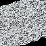 HooAMI Spitzenborte ca. 4.6M Borte-Spitze-Band Nähen Basteln 15cm breit (Weiß)